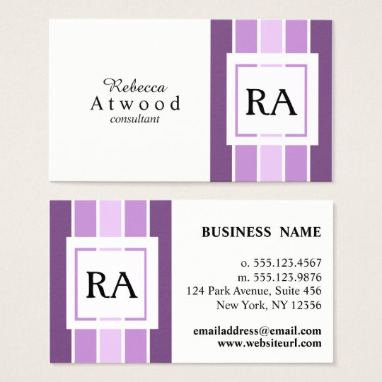 Modern Professional Monogram Business Cards Purple