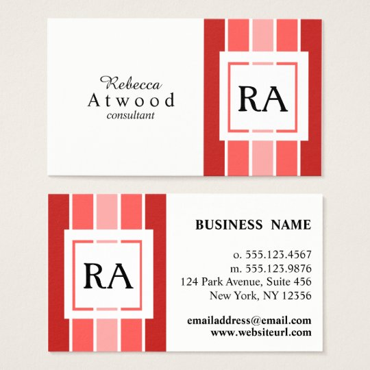 Modern Professional Monogram Business Cards Red