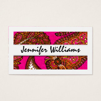 Modern Professional Pink Paisley Business Cards