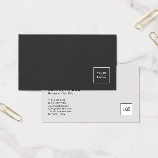 Modern Professional Plain With Logo Elegant Business Card