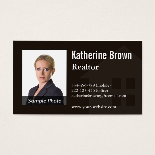 Modern Professional Real Estate Realtor Photo Business Card
