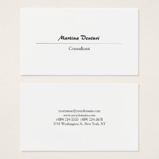 Modern Professional Simple Plain Black & White Business Card