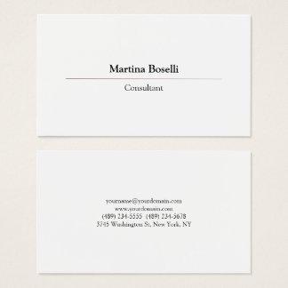 Modern Professional Simple Plain White Business Card