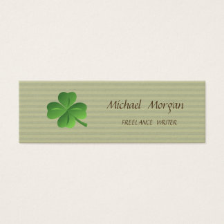 Modern Professional Striped -Shamrock Mini Business Card