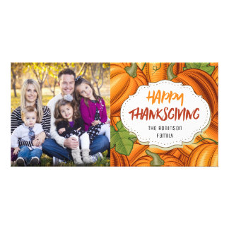 Modern Pumpkins Thanksgiving Picture Photo Card