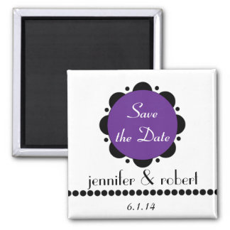 Modern Purple Abstract Daisy Save the Date Magnet