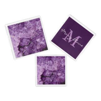 Modern Purple Amethyst Geode Gemstones Acrylic Tray