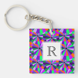 Modern Purple and Green Futurist Circles Double-Sided Square Acrylic Key Ring