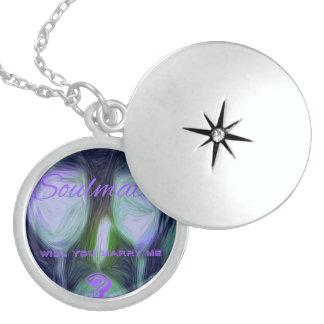 Modern Purple and Green Marriage proposal Locket. Round Locket Necklace