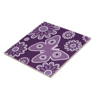 Modern Purple And Lavender Floral Spring Butterfly Tiles