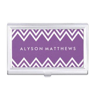 Modern Purple and White Chevron Business Card Case