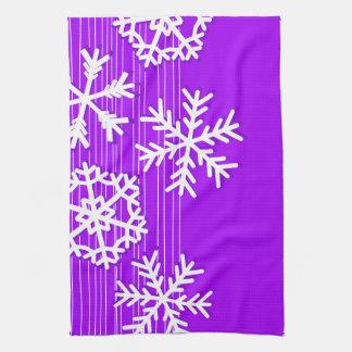 Modern purple and white Christmas snowflakes Tea Towel