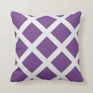 Modern Purple and White Criss Cross Stripes Pillow