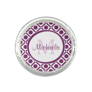 Modern Purple and White Geometric Monogrammed Name