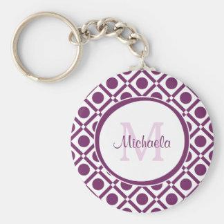 Modern Purple and White Geometric Monogrammed Name Basic Round Button Key Ring