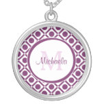 Modern Purple and White Geometric Monogrammed Name Round Pendant Necklace