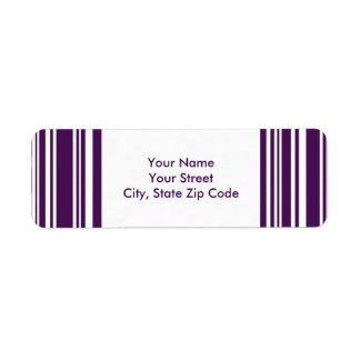 Modern Purple and White Stripes address labels