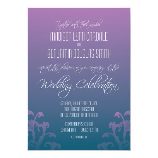 Modern Purple Blue Flourish Wedding Invitations