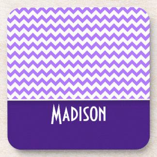 Modern Purple Chevron Beverage Coaster