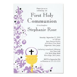 Modern Purple Floral First Holy Communion 13 Cm X 18 Cm Invitation Card