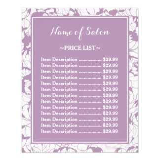 Modern Purple Floral Girly Beauty Salon Price List Flyer