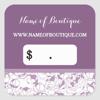 Modern Purple Floral Girly Boutique Price Tags Square Sticker