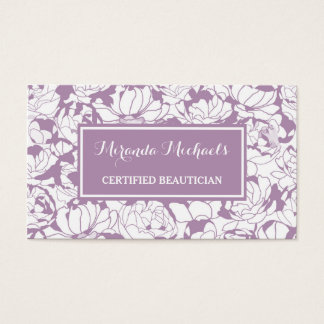 Modern Purple Floral Girly Certified Beautician