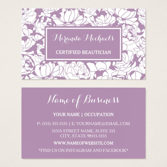 Modern Purple Floral Girly Certified Beautician Business Card