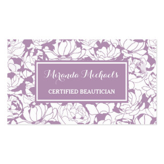 Modern Purple Floral Girly Certified Beautician Pack Of Standard Business Cards