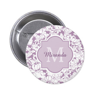 Modern Purple Floral Girly Monogram With Name 6 Cm Round Badge