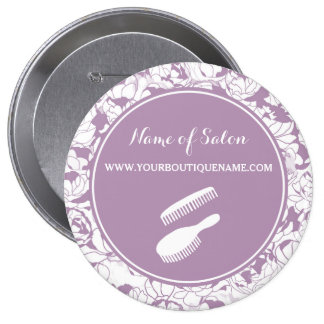 Modern Purple Floral Hair and Beauty Boutique 10 Cm Round Badge