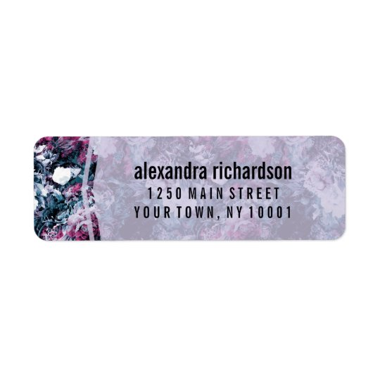 Modern Purple Floral Return Address Label