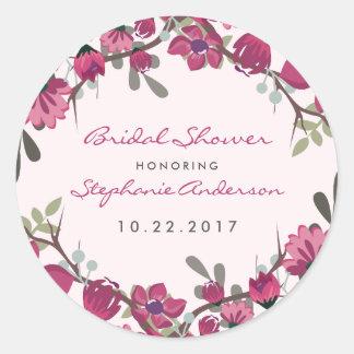 Modern Purple Flowers & Typography Bridal Shower Round Sticker