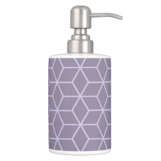 Modern Purple Geometric Cubes Pattern Bathroom Set