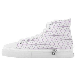 Modern Purple Geometric Triangle High Top Shoe Printed Shoes