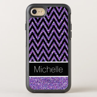 Modern Purple Glitter Black Chevron Stripes OtterBox Symmetry iPhone 8/7 Case