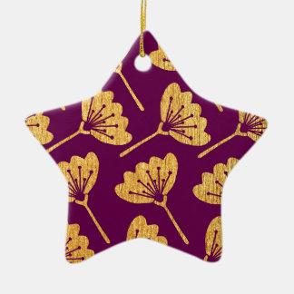 Modern Purple & Gold Florals Christmas Ornament