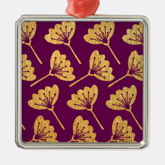 Modern Purple & Gold Florals Christmas Ornament