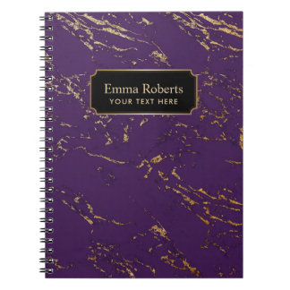 Modern Purple & Gold Marble Texture Spiral Notebook
