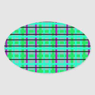 Modern purple gray and green plaid oval stickers