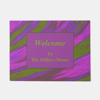 Modern Purple Green Color Swish Abstract Doormat