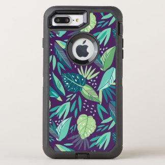 Modern Purple & Green Tropical Leafs pattern OtterBox Defender iPhone 8 Plus/7 Plus Case
