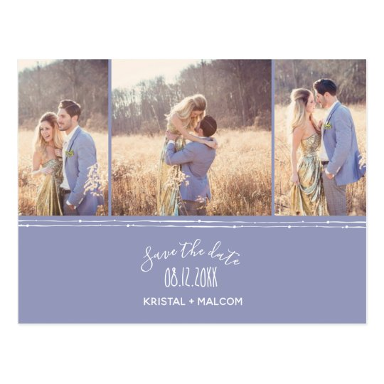 Modern Purple Lavender Photo Wedding Save the Date Postcard