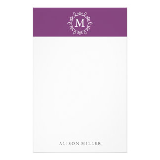Modern Purple Monogrammed Stationery