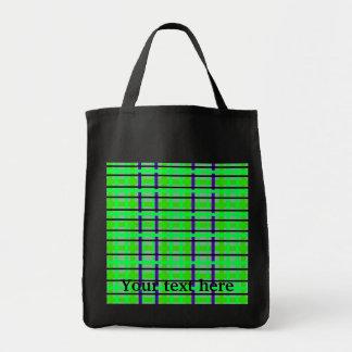 Modern purple neon green and green plaid bag