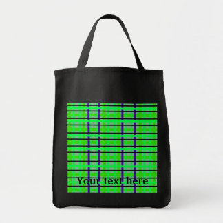 Modern purple neon green and green plaid grocery tote bag