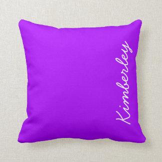 Modern Purple Neon Monogram Trendy Fashion Colors Cushion