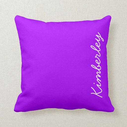 Modern Purple Neon Monogram Trendy Fashion Colors Pillow