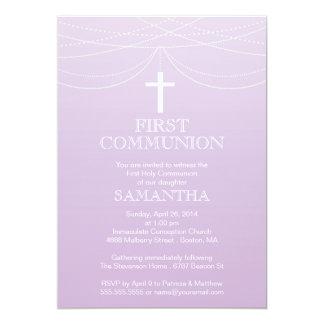 Modern Purple Ombre Garland Cross Communion Card
