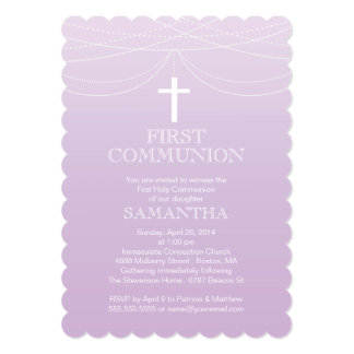 Modern Purple Ombre Garland Cross Communion 13 Cm X 18 Cm Invitation Card